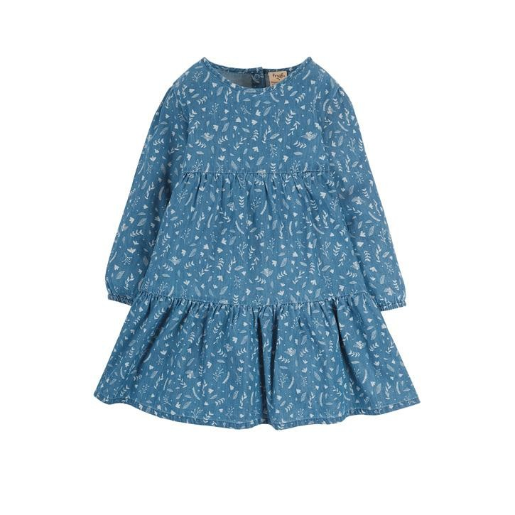 Frugi Fleur Tiered Dress, Chambray Floral