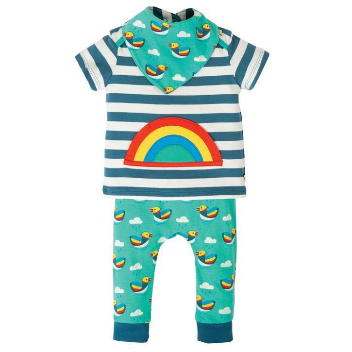 Frugi Frankie Outfit  Steely Blue Stripe/Rainbow