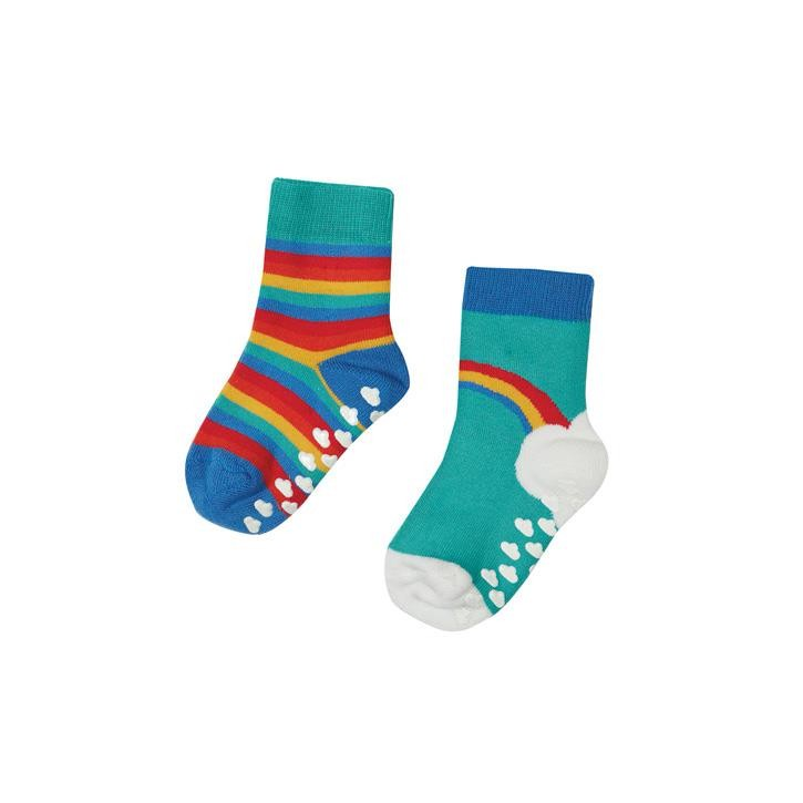 Frugi Grippy Socken 2 Pack Pacific Aqua Rainbow