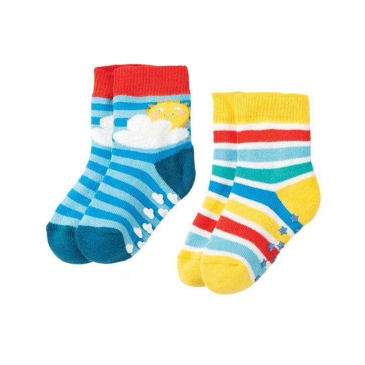 Frugi Grippy Socken 2 Pack  Rainbow Mulitpack