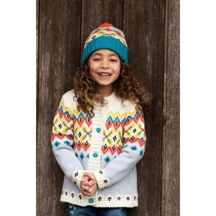 Frugi Grob gestrickte Fairisle-Design-Strickjacke  Tin Roof Fairisle_AW20