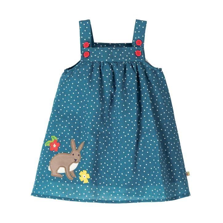 Frugi Hallie Linen Kleid  Steely Blue Scatter Spot/Bunny