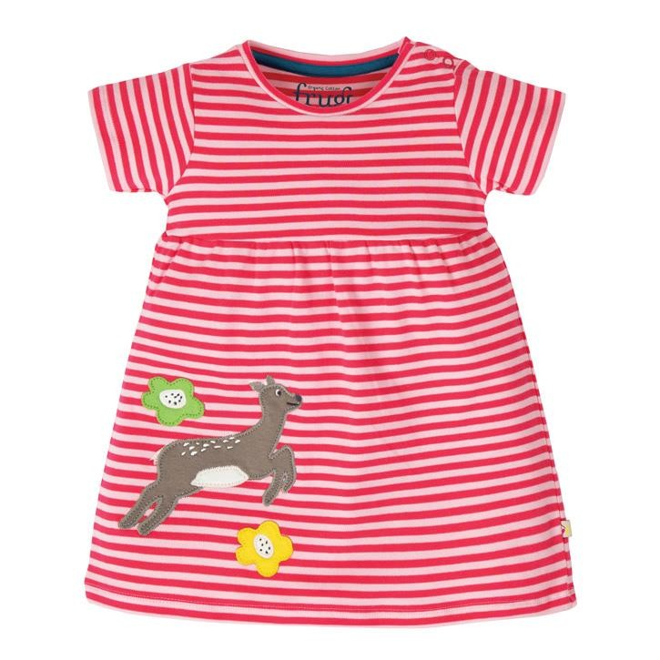 Frugi Jade Jersey Kleid  Watermelon Stripe/Deer