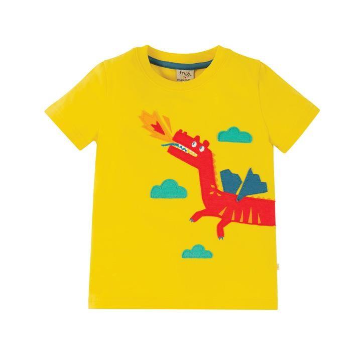 Frugi James Applique T-Shirt  Sunflower/Dragon