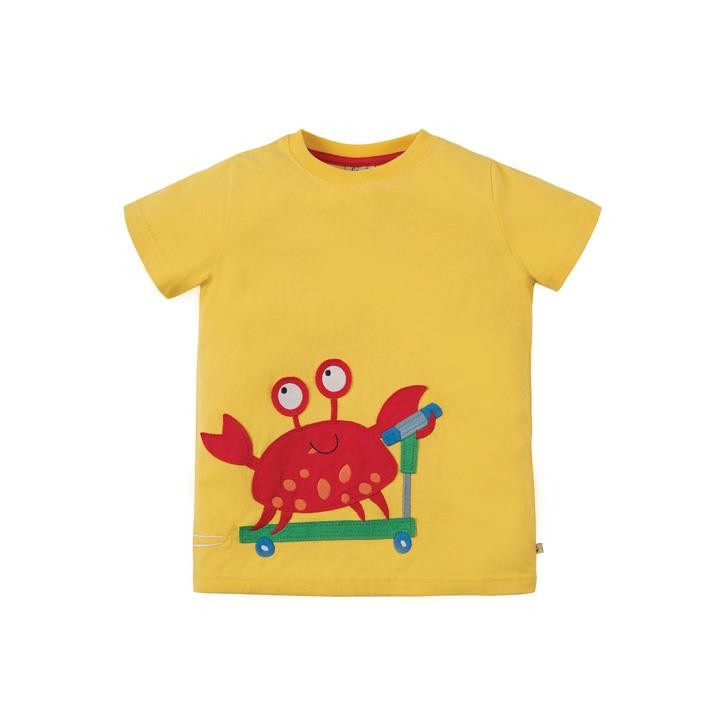 Frugi James Applique T-shirt Sun Yellow Crab