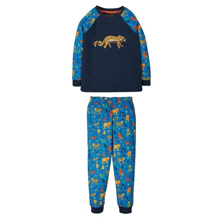 Frugi Jamie Jim Jams Schlafanzug 12-18M Indigo/Leopard