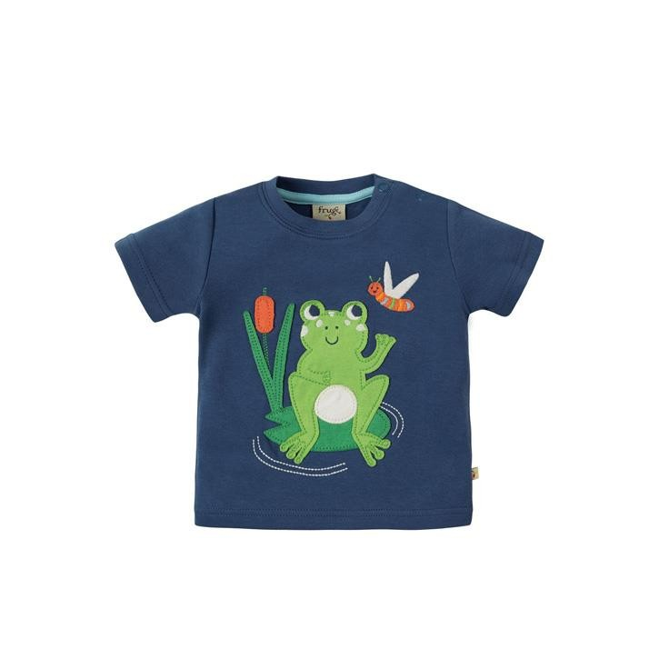Frugi Little Creature Applique Top 18-24M Marine Blue/Frog