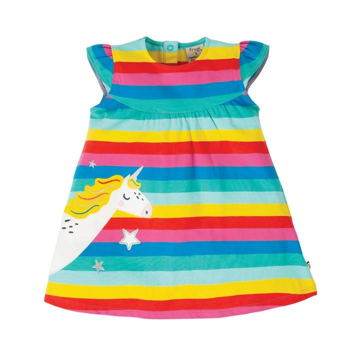 Frugi Little Lola Kleid  Flamingo Multi Stripe/Unicorn