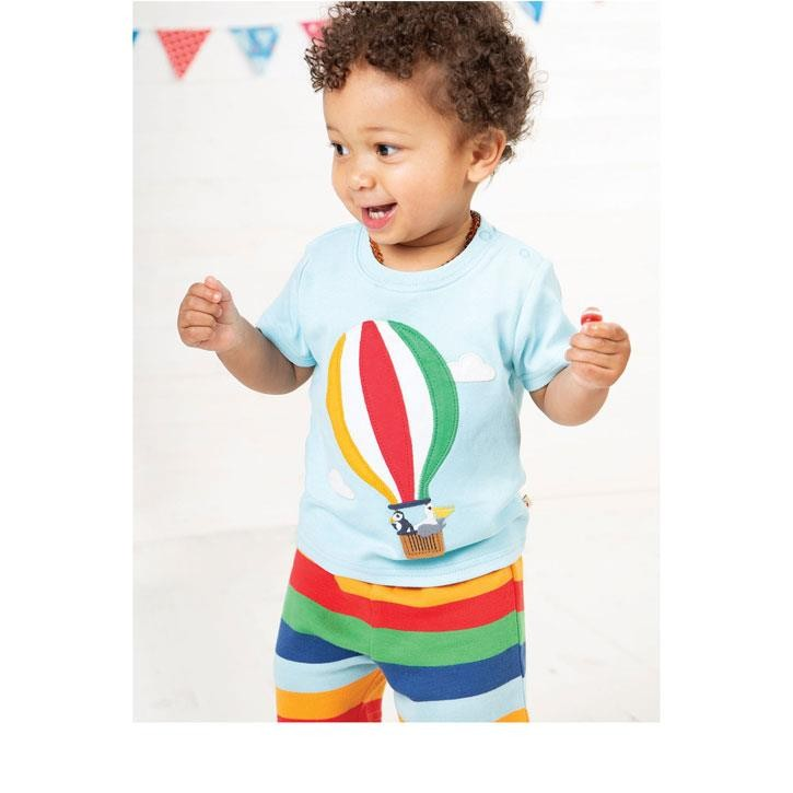 Frugi Little Perran PJs Tidal Blue/Hot Air Balloon