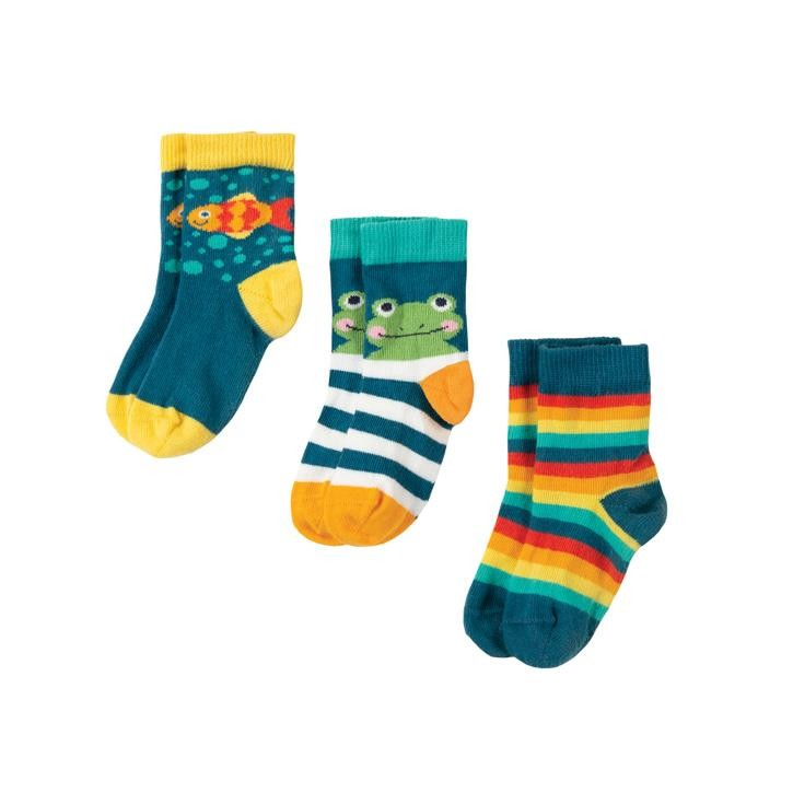 Frugi Little Socken 3er Pack  Frog Multipack