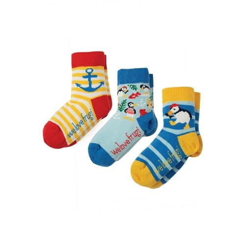 Frugi Little Socks 3 Pack Puffin Multipack