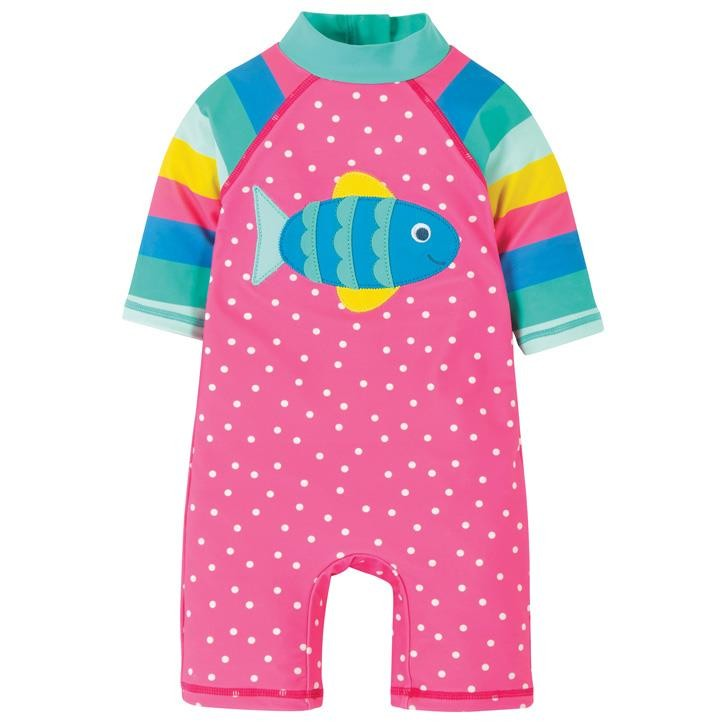 Frugi Little Sunsafe Overall  Flamingo Spot/Fish