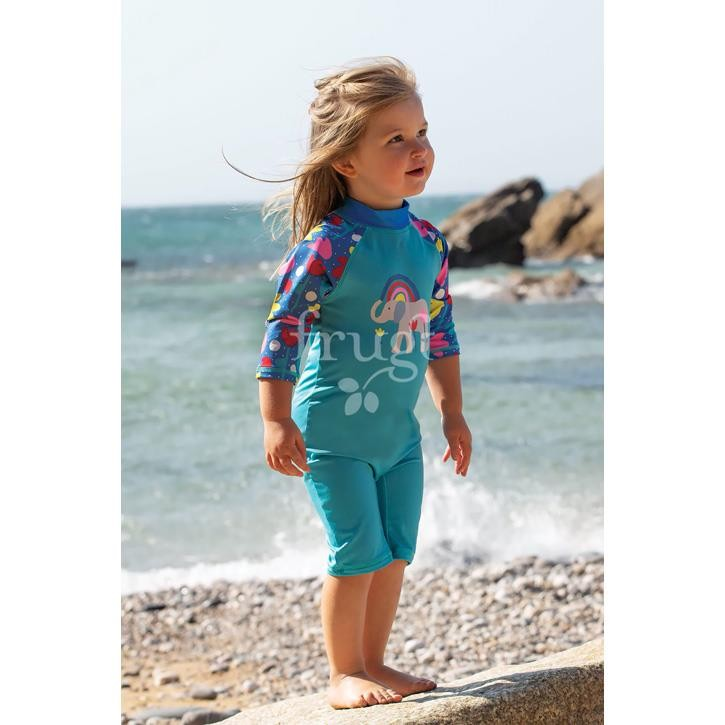 Frugi Little Sun Safe Schwimmanzug Pacific Aqua/ Elephant