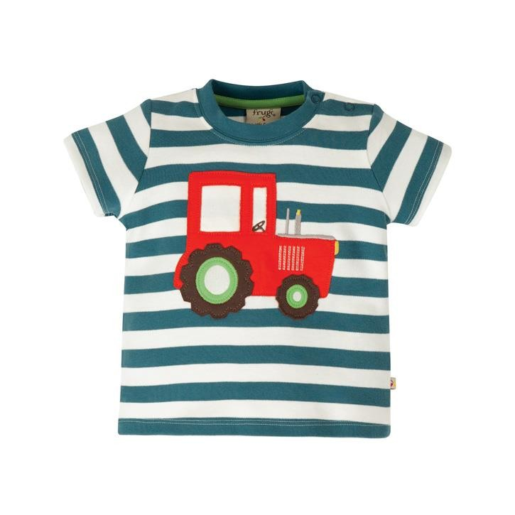 Frugi Little Wheels Applique Top  Steely Blue Stripe/Tractor