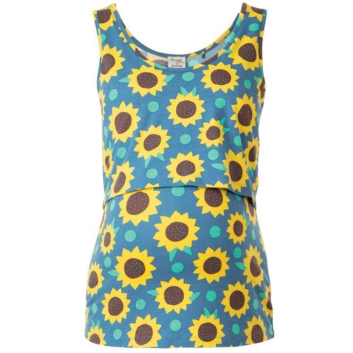 Frugi Lowen Weste  Steely Blue Sunflowers