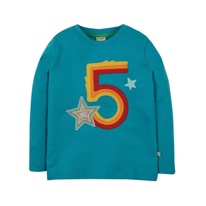 Frugi Magic Number T-Shirt 5-6J Tobermory Teal/Star