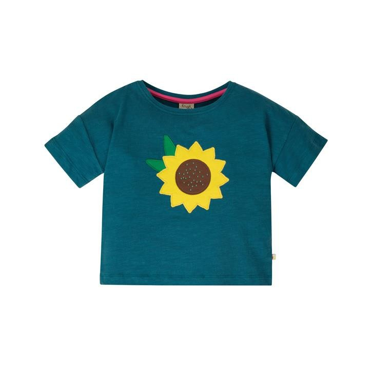 Frugi Myla T-Shirt  Steely Blue/Flower