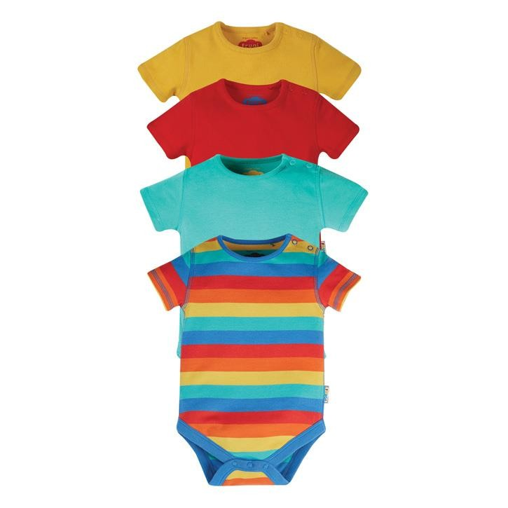 Frugi Over The Rainbow, rot, türkis, gelb, regenbogen Body kurzarm