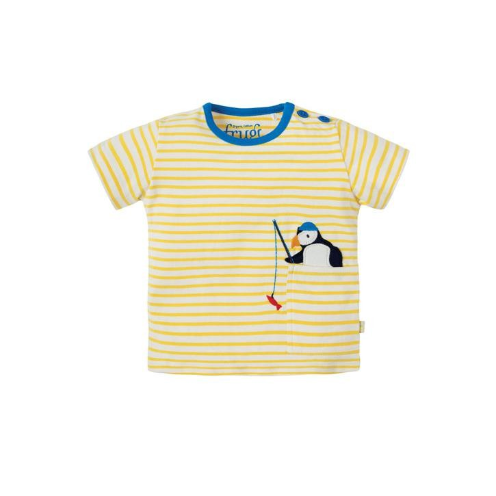 Frugi Penzance Pocket T-shirt Sun Yellow Breton/Puffin