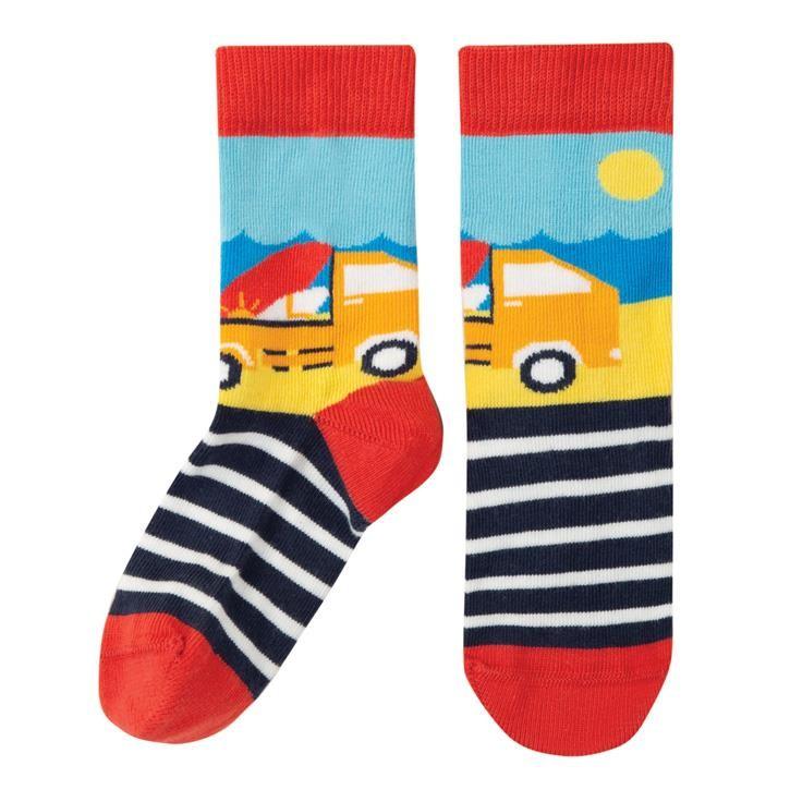 Frugi Perfect Pair Socken  Steely Blue Stripe/Truck