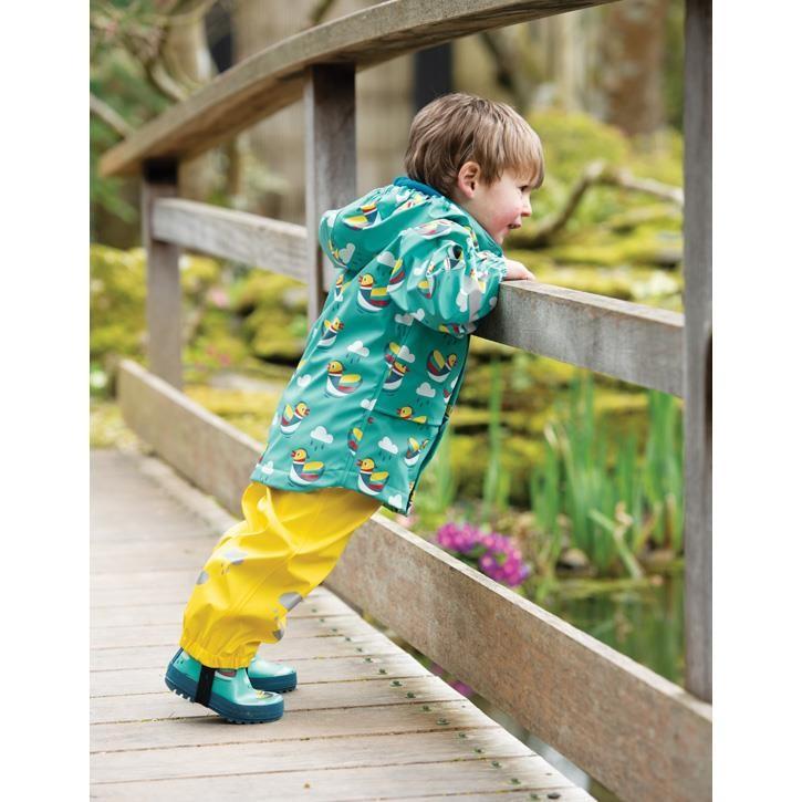 Frugi Puddle Buster Mantel  Pacific Aqua Mandarin Ducks