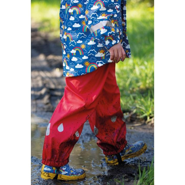 Frugi Puddle Buster Trousers, True Red