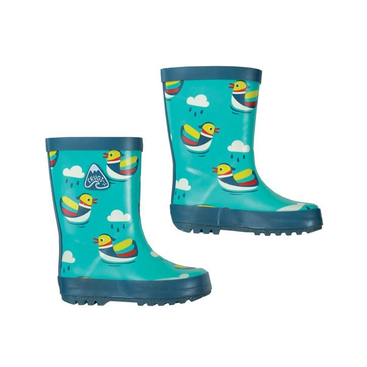 Frugi Puddle Buster Welly Boot  Pacific Aqua Mandarin Ducks