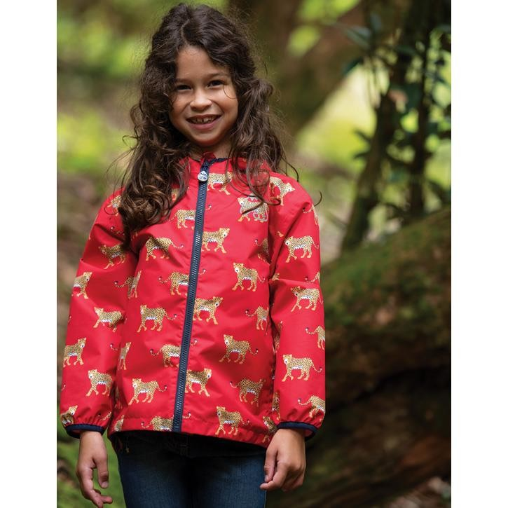 Frugi Rain Or Shine Jacke True Red Leopards