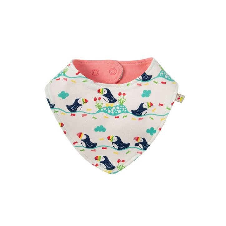 Frugi Reversible Dribble Bib Onesize Soft White Puffin Parade