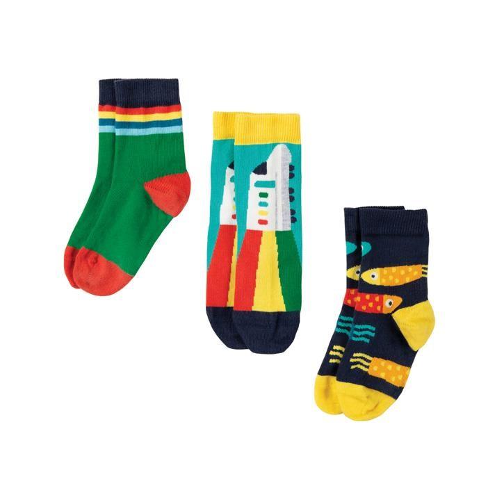 Frugi Rock My Socken 3er Pack  Train Multipack