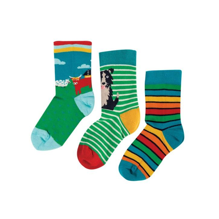 Frugi Rock My Socks 3er Pack UK 3-5 Highland Cow Multipack_AW20
