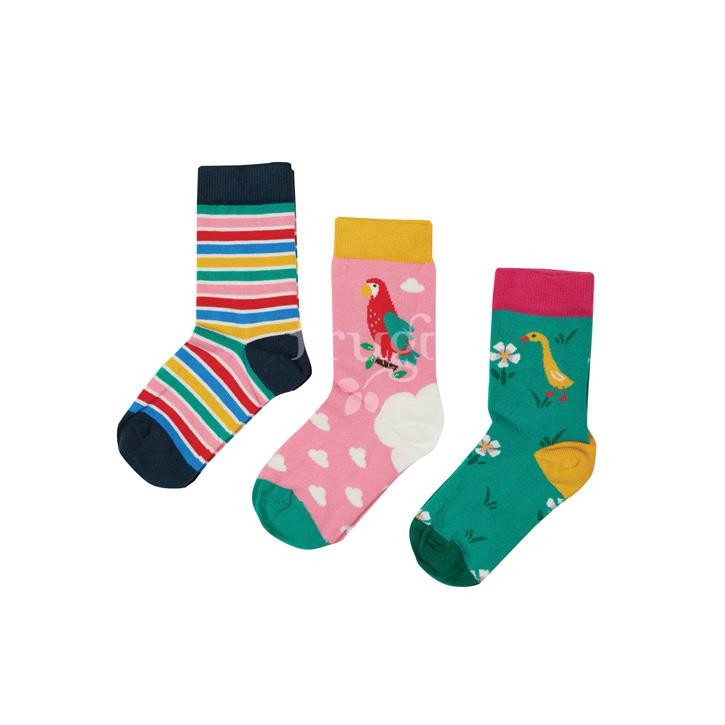 Frugi Rock My Socks 3 Pack, Mid Pink/Parrot