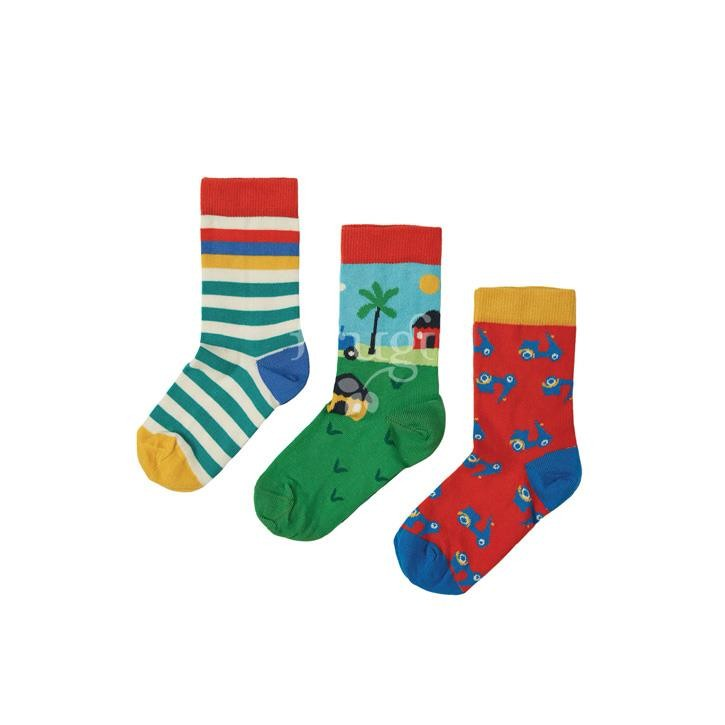 Frugi Rock My Socks 3 Pack, Tractor Multipack,