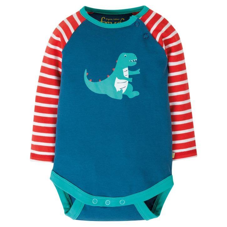 Frugi Rowan Raglan Body  Steely Blue/Dino