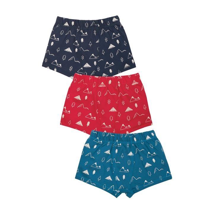 Frugi Sean Printed Boxer Shorts 3 pack, Mountain Multi