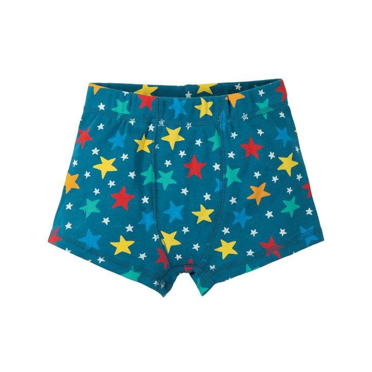 Frugi Sean Printed Boxer Short  Steely Blue Multi Star 5-6J
