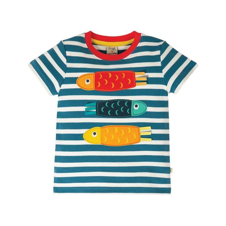 Frugi Sid Applique T-Shirt  Steely Blue Stripe/Fish