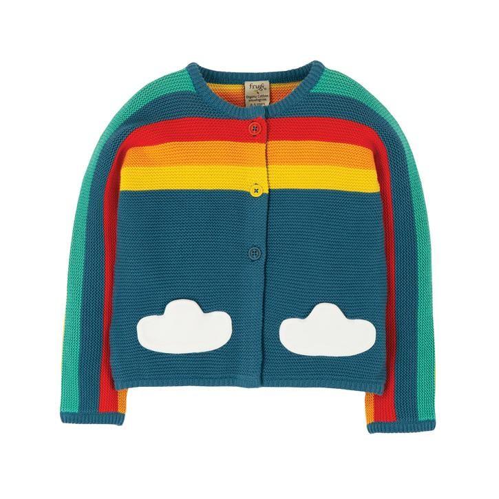 Frugi Skylar Strickjacke  Steely Blue/Rainbow