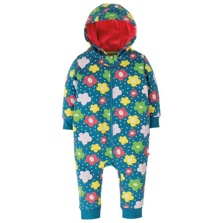 Frugi Snuggle Overall  Steely Blue Floral Spot
