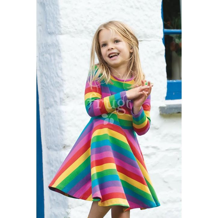 Frugi Sofia Skater Dress, Foxglove Rainbow Stripe, GOTS