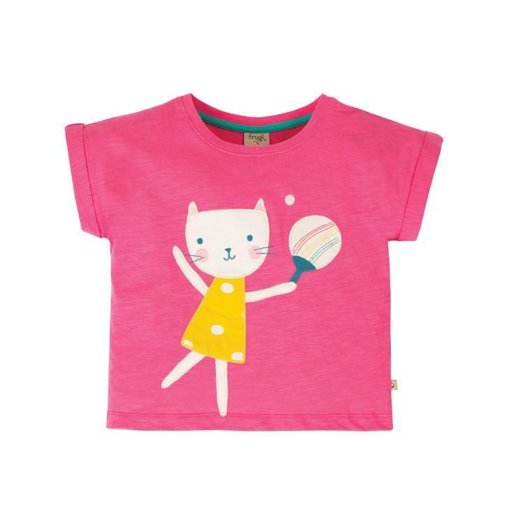 Frugi Sophia Slub T-Shirt  Flamingo/Cat