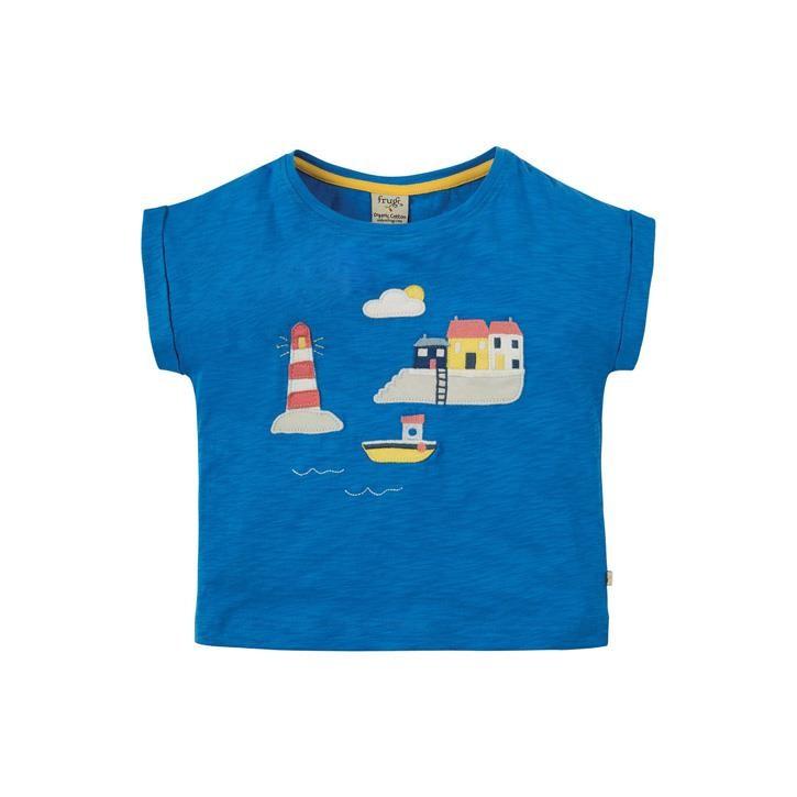 Frugi Sophia Slub T-shirt Sail Blue/Harbour Scene