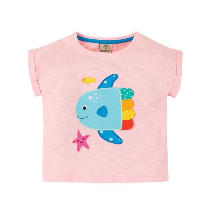 Frugi Sophia Slub T-Shirt  Soft Pink/Fish
