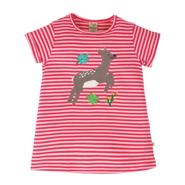 Frugi Sophie Applique Top  Watermelon Stripe/Deer