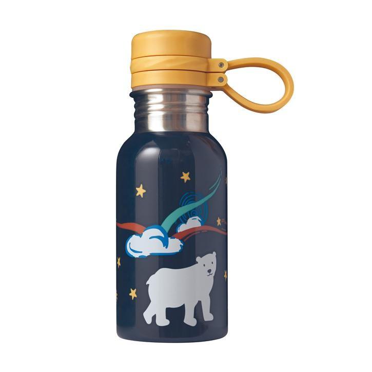 Frugi Splish Splash Steel Bottle, Indigo/Polar Bear, O/S