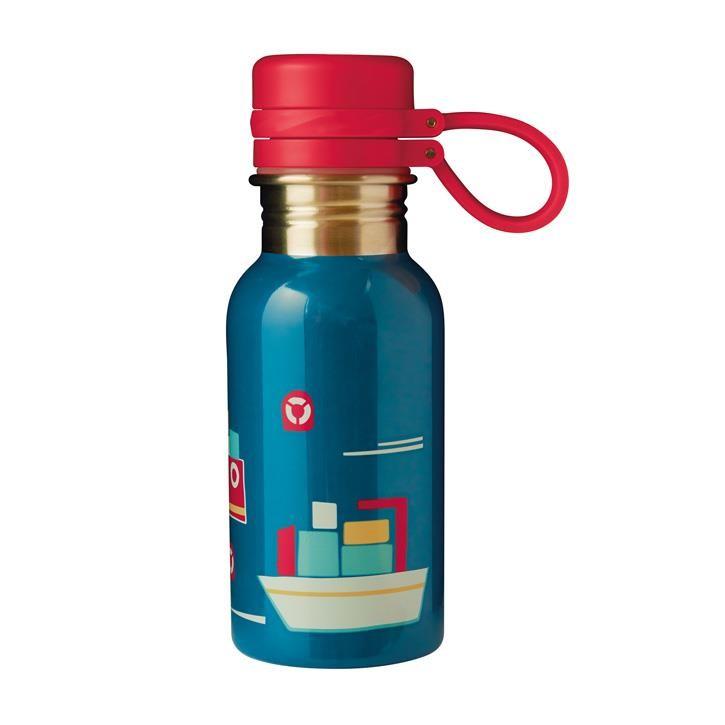 Frugi Splish Splash Steel Bottle, Loch Blue/Boat, O/S