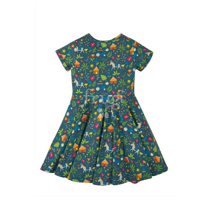 Frugi Spring Skater Dress, Indigo Farm,  GOTS
