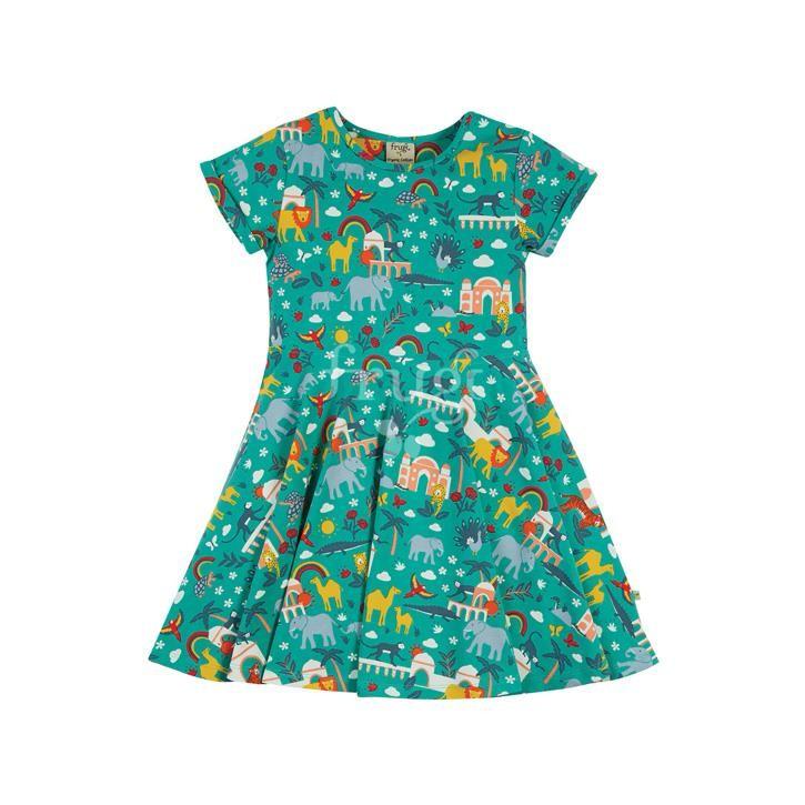 Frugi Spring Skater Dress, Jewel India, 4-5yrs GOTS