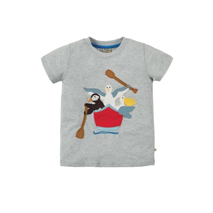 Frugi Stanley Applique T-shirt Grey Marl/Gig Boat