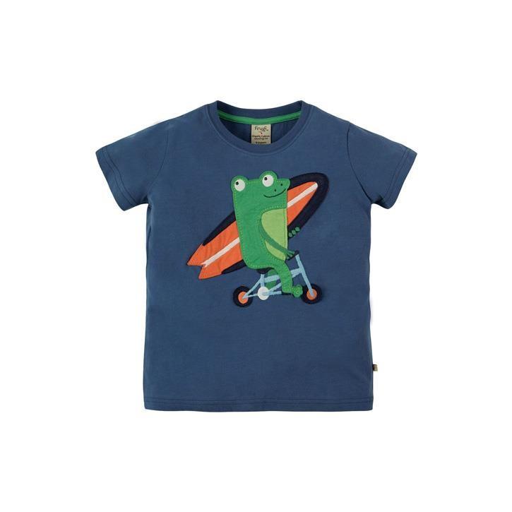 Frugi Stanley Applique T-shirt Marine Blue/Frog